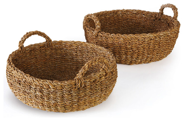 Sea Grass Shallow Baskets With Handles Set of 3  sc 1 st  Houzz & Sea Grass Shallow Baskets With Handles Set of 3 - Beach Style ...