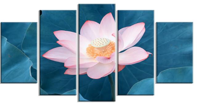 Blooming pink lotus flower oversized beach canvas artwork asian blooming pink lotus flower oversized beach canvas artwork 5 panels 60 mightylinksfo