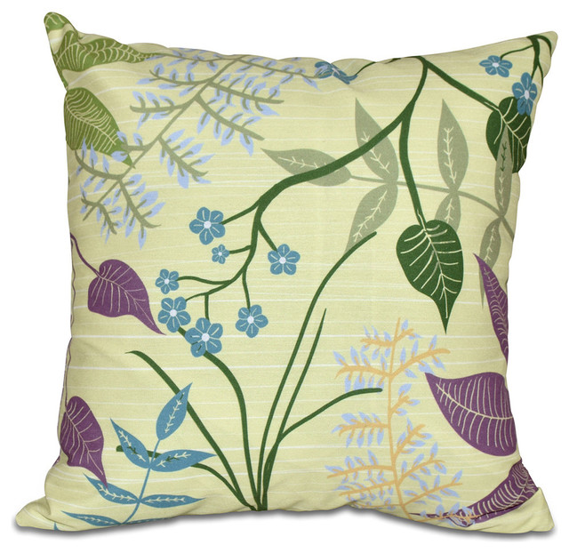 Modern Botanical Pillow : E by Design Botanical, Floral Print Pillow - Decorative Pillows Houzz