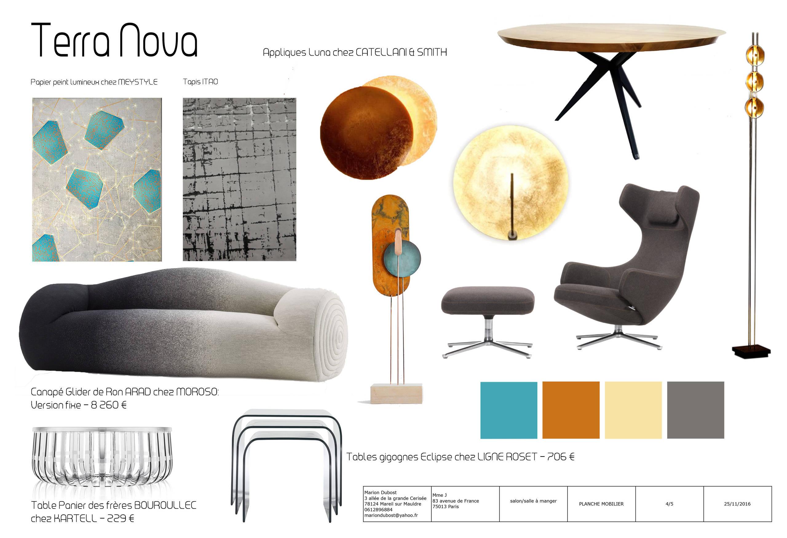 Planche mobilier aménagement salon/salle à manger