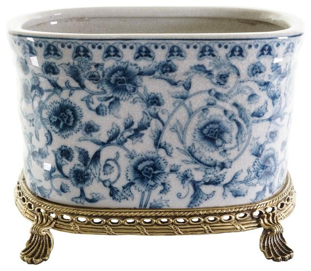 210 & Crackle Blue and White Floral Porcelain Oval Flower Pot Brass Ormolu 7.5\
