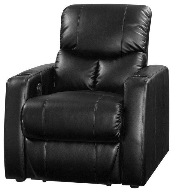 Row One Applause Manual 2 Arm Recliner Black Bonded Leather