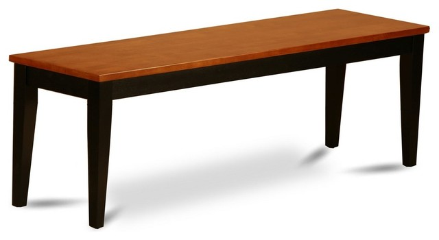 dining bench with wood seat black and cherry transitional dining