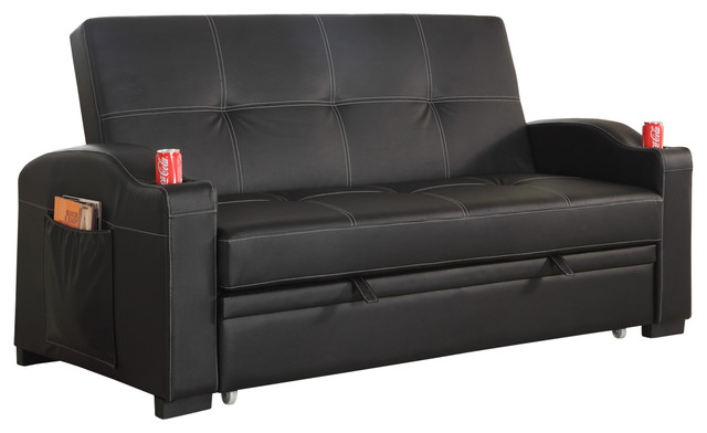 Black Faux Leather Futon