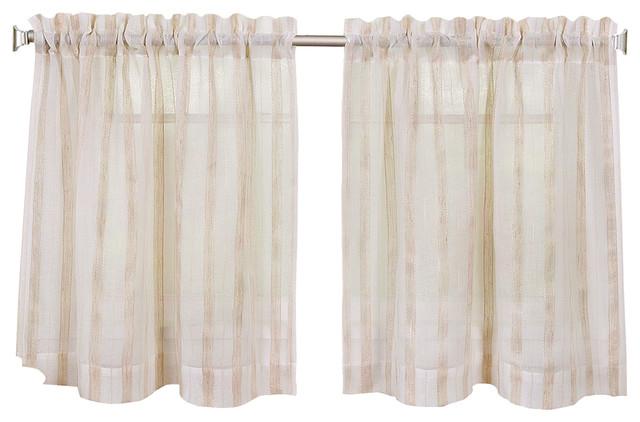 Linen Stripe Kitchen Curtain Tier Set, 30\