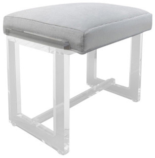 modern vanity stool  Vanity Stool Gray Fabric - Modern - Vanity Stools And Benches - by ...