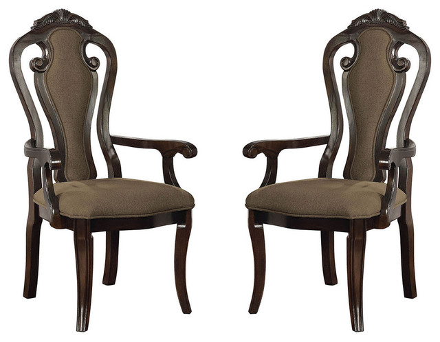 Traditional Dining Arm Chairs, Fiddle Back, Fabric Padded Seat, Set Of 2