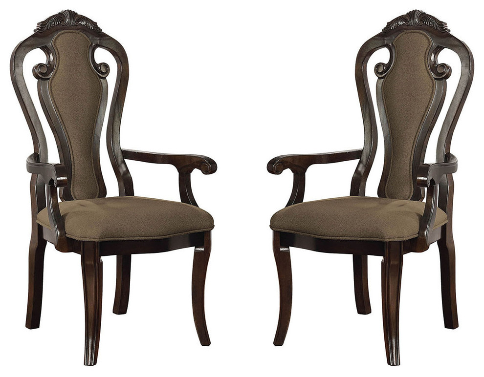Traditional Dining Arm Chairs Fiddle Back Fabric Padded Seat Set Of 2