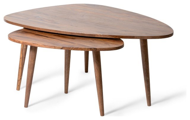 Sebastian Wooden Nesting Tables, Set Of 2   Midcentury   Side Tables And  End Tables   By Houzz