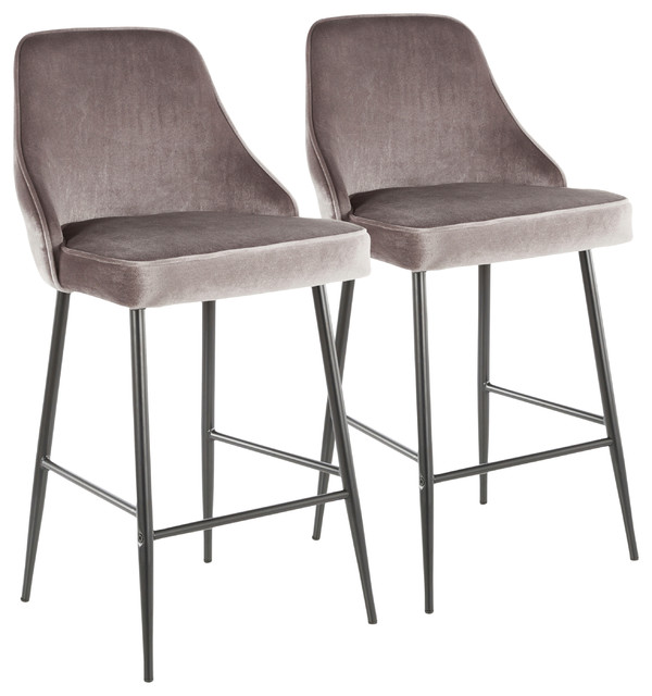 Lumisource Marcel Counter Stool, Black Metal and Silver Velvet, Set of 2