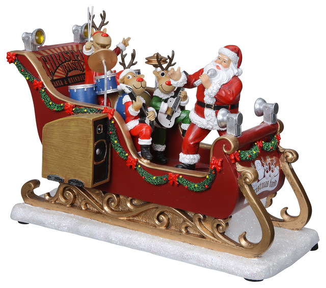 Santa And Reindeer Musical Band Sleigh Decor