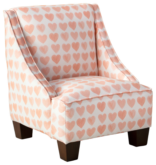 Kids Swoop Arm Chair in Hearts Peach