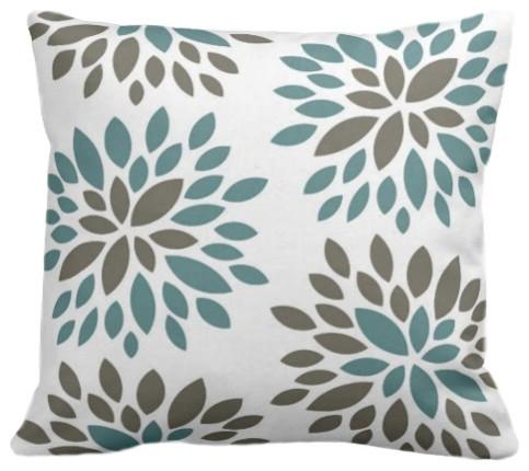 Dahlia Organic Pillow Cover, Light Teal/Khaki/Natural, 18x18