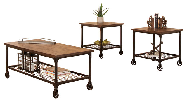 Superior Rustic Elm Industrial 3 Piece Coffee Table Set