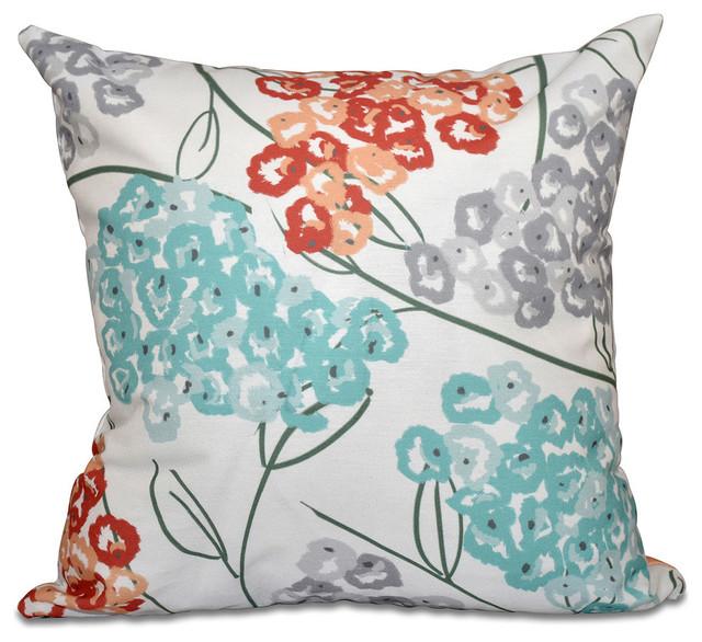 "Hydrangeas, Floral Print Pillow, Coral, 18""x18"""