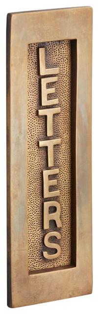 Vertical Letter Plate, 204mm, Antique Satin Brass