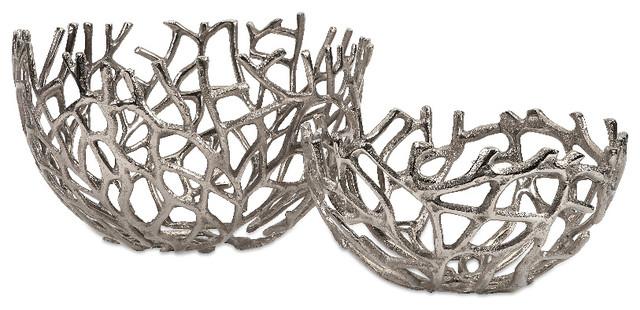 Contemporary Decorative Bowls Enchanting Imax Home Davidson Aluminum Coral Bowls  Set Of 2  Contemporary Inspiration