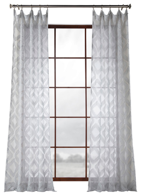 Capella Patterned Linen Sheer Curtain, Sheer Patterned Curtains Nz