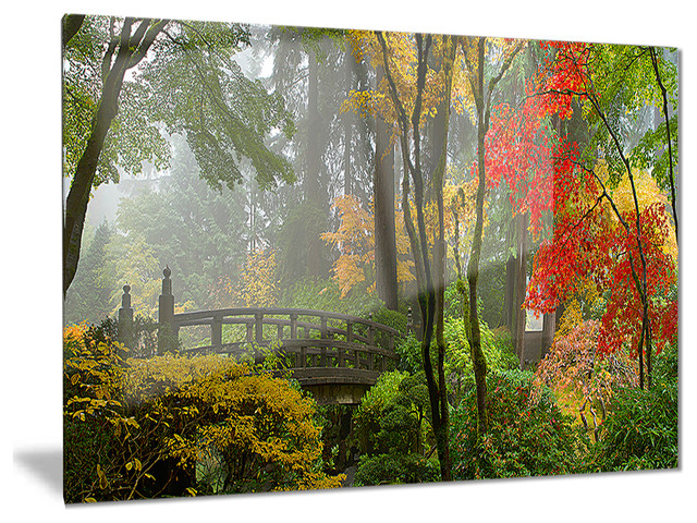 Japanese Wooden Bridge In Fall Photo Glossy Metal Wall Art 28 X12