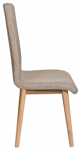 Contemporary Dining Chair Solid Oak Wood With Light Brown Fabric Upholstery Chairs By Decor Love