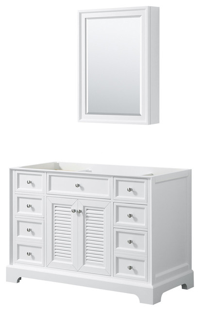 "48"" Single Bathroom Vanity, White, No Countertop, No Sink, Medicine Cabinet"