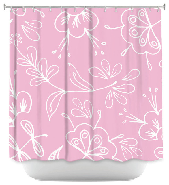 DiaNoche Designs Shower Curtain By Zara Martina Pink Flora