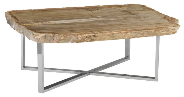 Stone Base Coffee Table.46 Wide Coffee Table Petrified Wood Stone Base Stainless Steel Brown