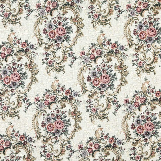 Burgundy Green And Blue Floral Tapestry Upholstery Fabric By The
