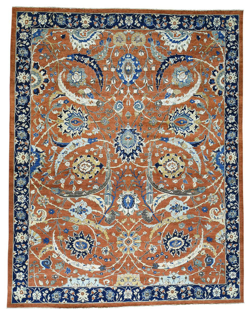 Oversize Antiqued Sickle Leaf Design Handmade Peshawar Rug , 11'10x15'1