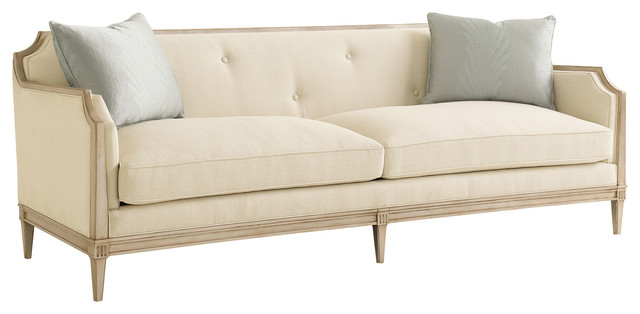 Audrey French Country Ivory Upholstered Tufted Sofa Traditional Sofas