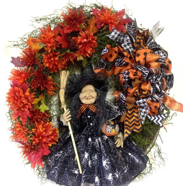 Witch Halloween Wreath Xl Oval Black Silver Orange Indoor Outdoor.