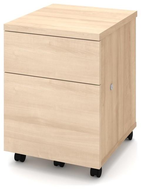 ... Houzz | Bestar Bestar Mobile File Cabinet, Bark Gray - Filing Cabinets