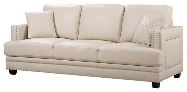 Charmant Ferrara Remy Leather Sofa, Beige Transitional Sofas