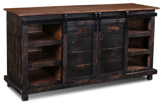 "Westgate Black 66"" Sliding Barn Door Tv Stand/media Console."