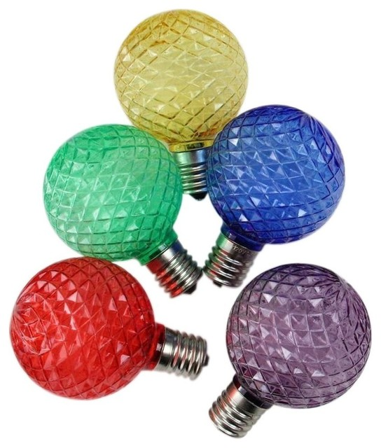 Faceted Led G50 Multicolored Christmas 25-Piece Replacement Bulbs Set.