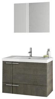 "31"" Gray Oak Bathroom Vanity Set"