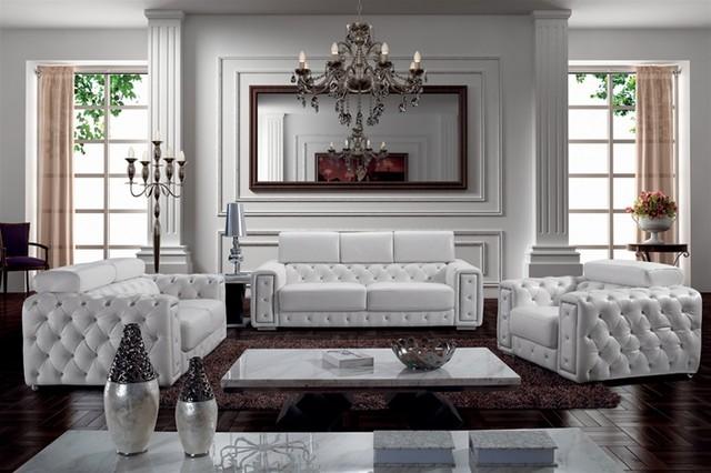 Zonka Tufted Leather Sofa Set