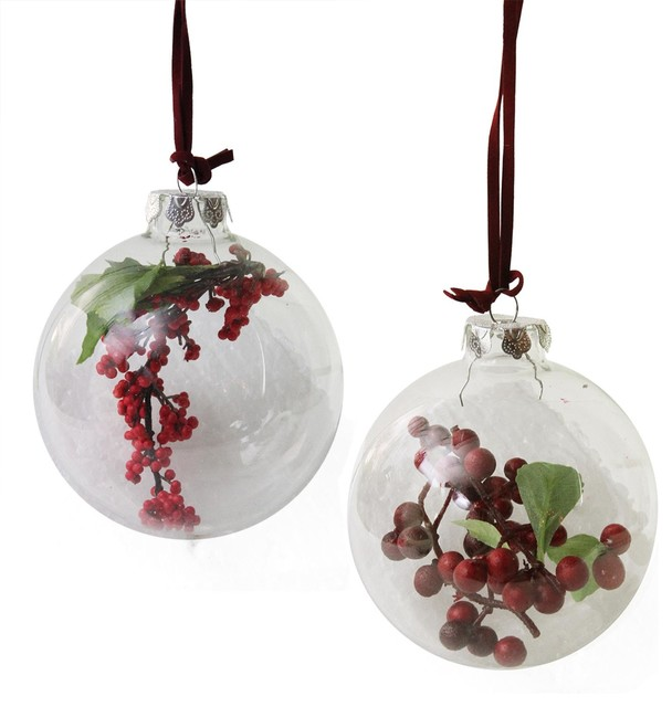 purchase cheap bb377 2a22e Clear Glass Christmas Ball Ornaments, Red and Burgundy Berries 3.5