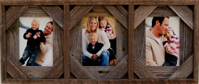 """Barn Wood Collage Frame With Three Openings, 8""""x10"""""""