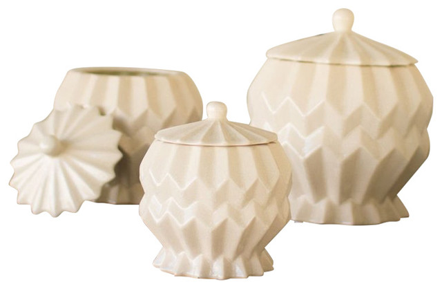 ceramic geometric canisters, ivory, set of 3 - eclectic - kitchen