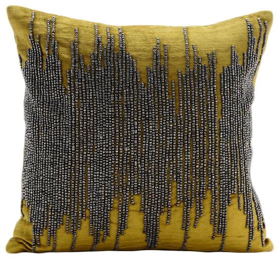 Gunmetal Beaded Green Velvet 14 X14 Throw Pillow Covers Chartreuse Spill