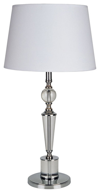 """27.5"""" Tall Metal Table Lamp W/ Silver Finish And Crystal Ball Decor, White Shade."""