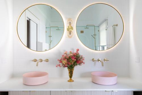 Blush pink basins with brass gold tapware basins with no overflow