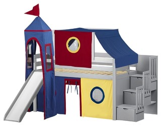 Jackpot Castle Twin Low Loft Gray Stairway Bed, Red and Blue Tent With Slide
