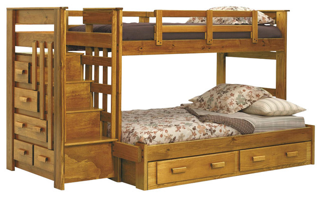Chelsea Home 36500-S Twin Over Full Bunk Bed With Stairway Chest And Storage.