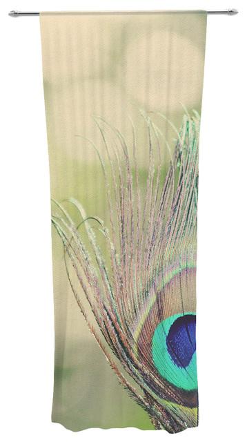 beth engel sun kissed peacock feather decorative sheer curtain contemporary curtains - Decorative Curtains