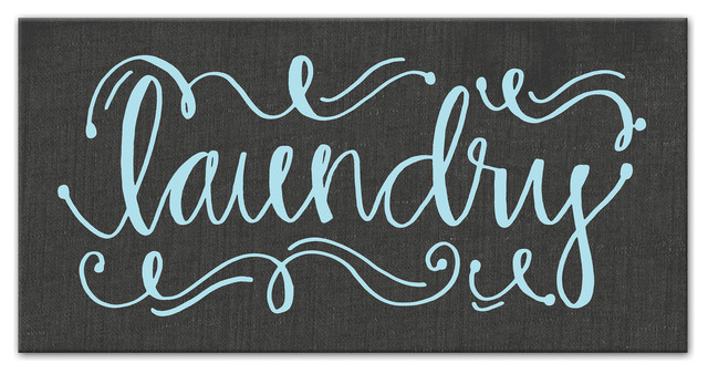 Calligraphy Style Laundry Canvas Wall Art, 10x20. -1