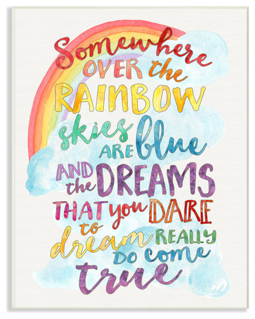 Quot Somewhere Over The Rainbow With Rainbow Quot Wall Plaque Art