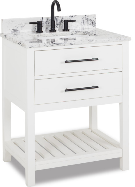 30 White Vanity Matte Black Hardware White Black Engineered Marble Top Bowl Transitional Bathroom Vanities And Sink Consoles By Kolibri Decor Houzz