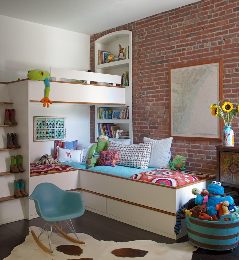 Urban gender-neutral dark wood floor kids' room photo in Atlanta with red walls